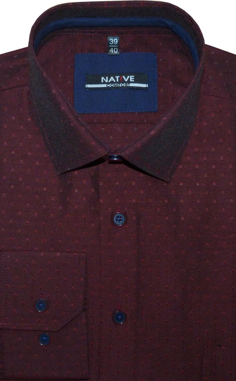 f8fcfd94789 Pánská košile (vínová) s dlouhým rukávem 45 46