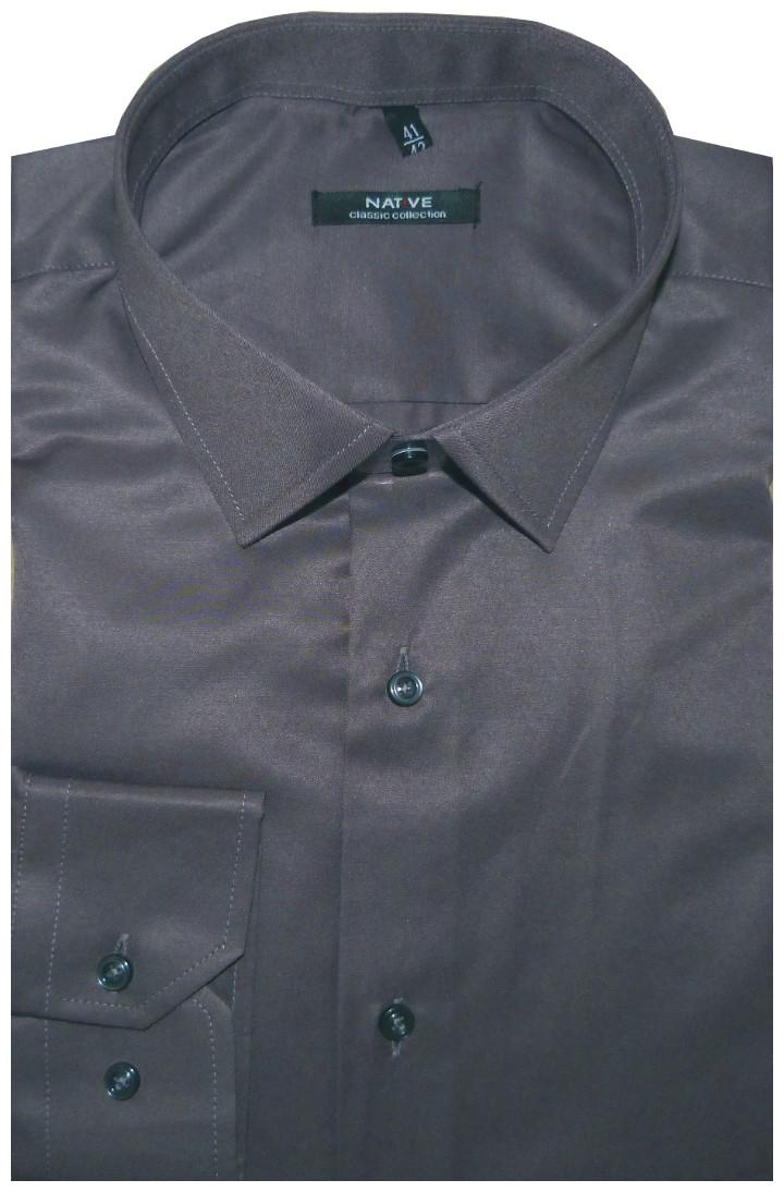 202392157ac Pánská košile (šedá) s dlouhým rukávem