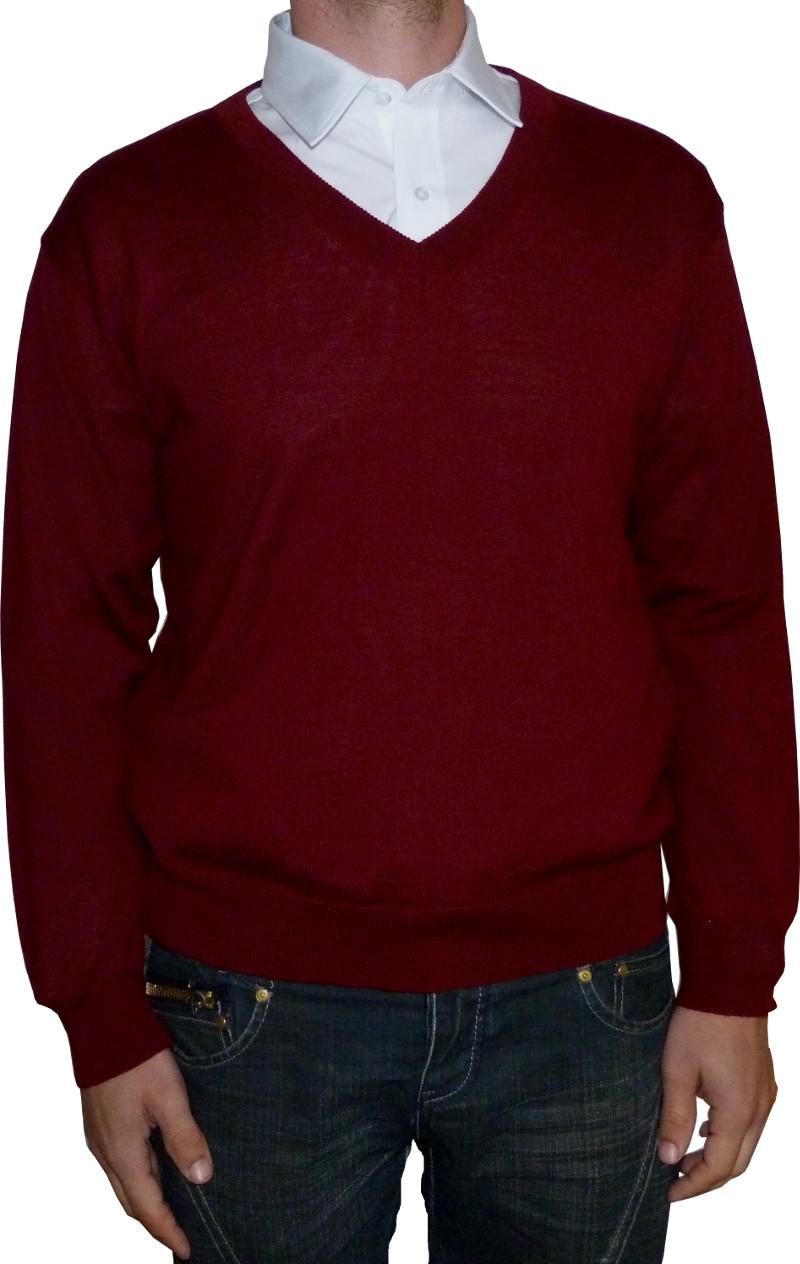 648a47a4ee8 Pánský svetr ve vínové barvě s výstřihem
