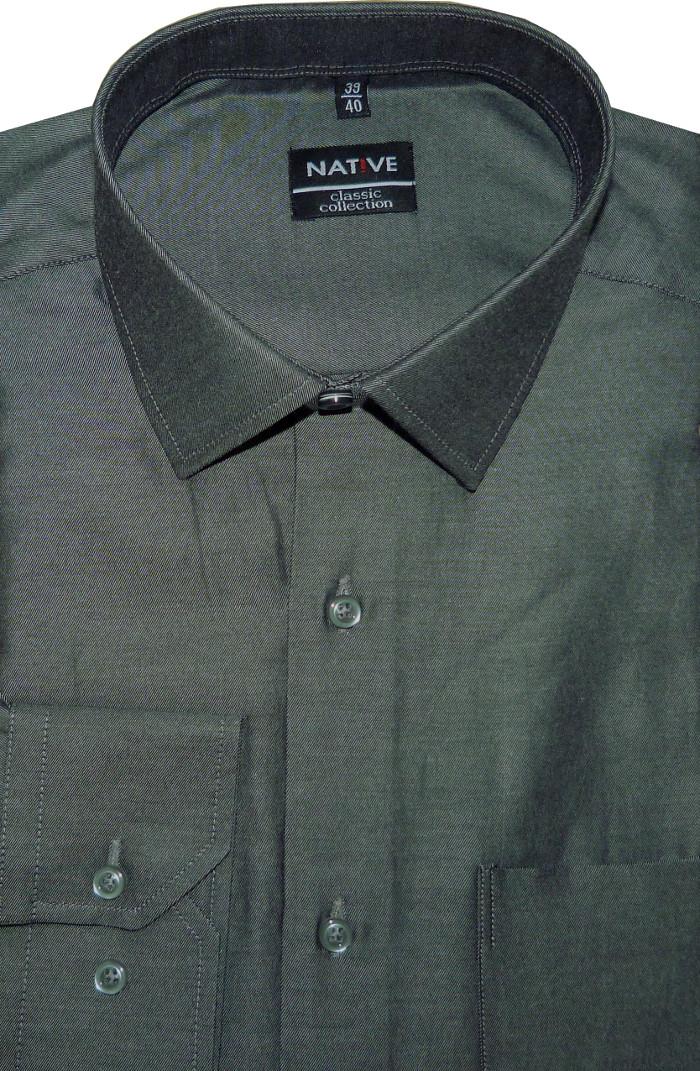 0653f12e357 Pánská košile (šedá) s dlouhým rukávem