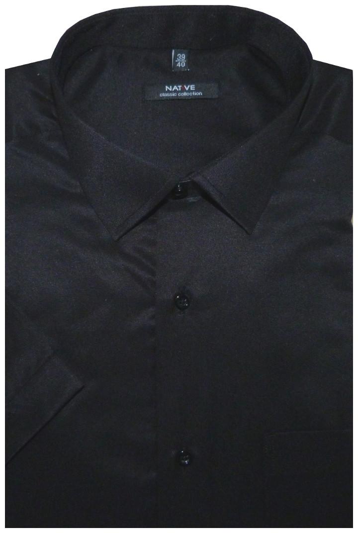 01232881223 Pánská košile (černá) s dlouhým rukávem, vypasovaná, vel. 45/46 - N952/002