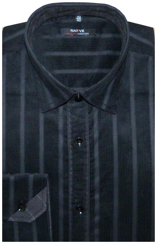 b0b204dc39e Manšestrová pánská košile (černá) s dlouhým rukávem